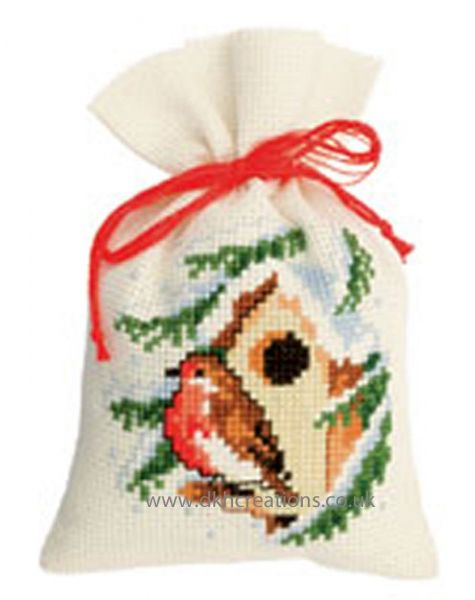 Winter Robin Pot Pourri Bag Cross Stitch Kit